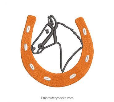 Horseshoe Embroidered Design with Horse Background