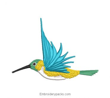 Hummingbird Machine Embroidered Design