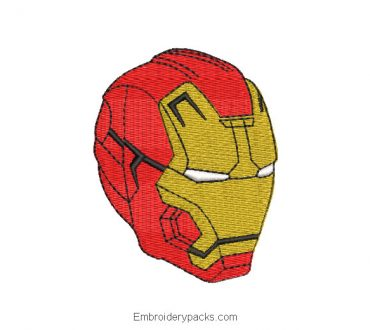 Iron Man Face Embroidery Design