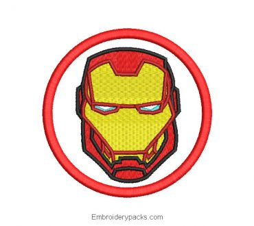 Iron man face embroidered design in circle