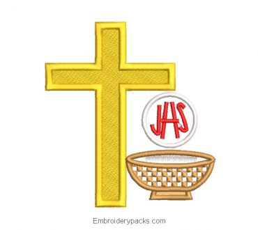 JHS letter and cross embroidery design with cup