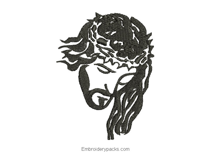 Jesus embroidered face design for embroidery