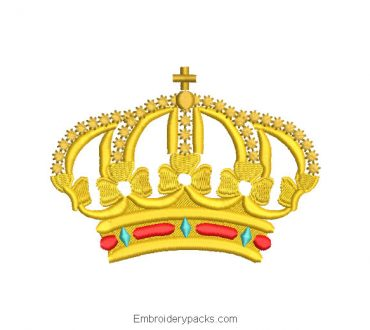 King crown with cross embroidery design