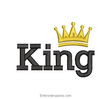 King with Crown Letter Embroidery Design