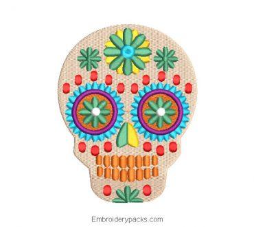 La catrina mexican skull embroidery design