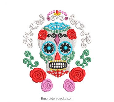 La catrina skull embroidered design with roses