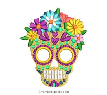 La catrina skull embroidery with colorful flowers