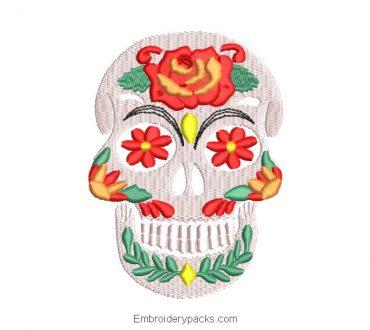 La catrina skull embroidery with roses