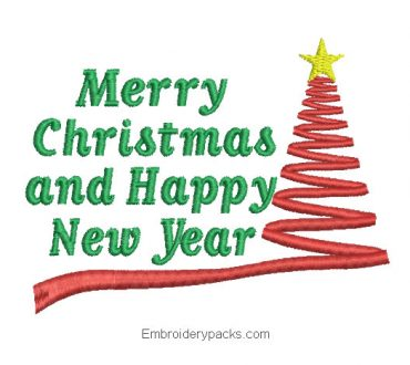 Letter embroidery merry christmas and prosperous new year