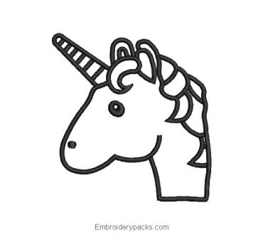 Linear unicorn pony head embroidery design