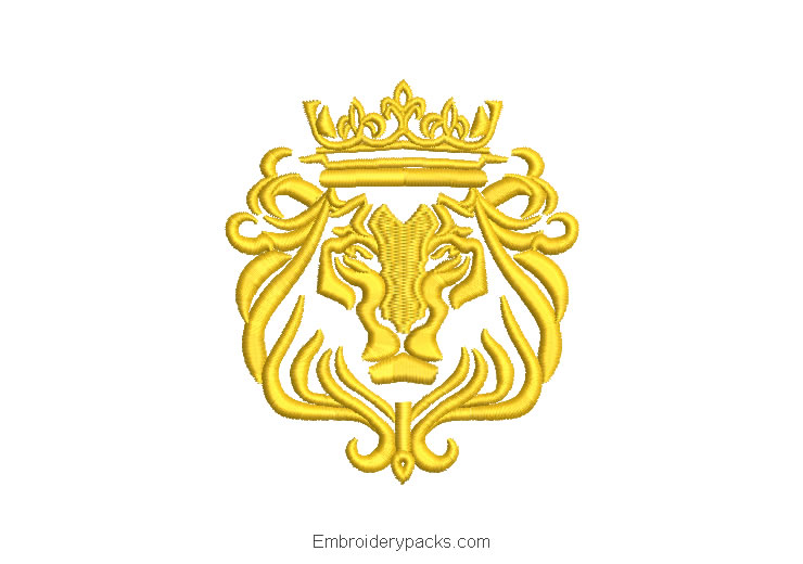 Lion Shield Embroidery Design