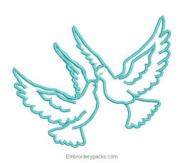 Love doves embroidery design