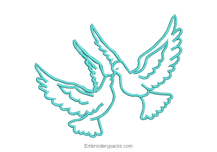 Love doves embroidery design