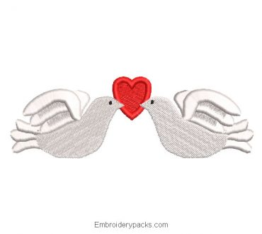 Love doves with heart embroidery design