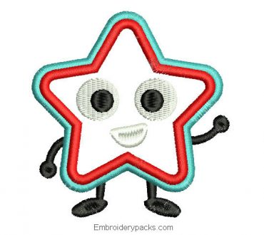 Machine Character Star Embroidery