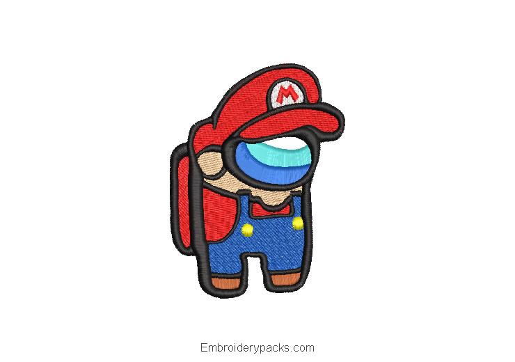 Mario Bros Among Us Embroidered Design