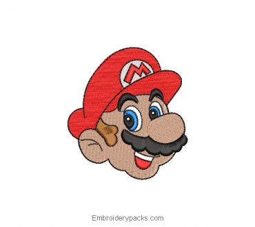 Mario Bros Face Embroidered Design