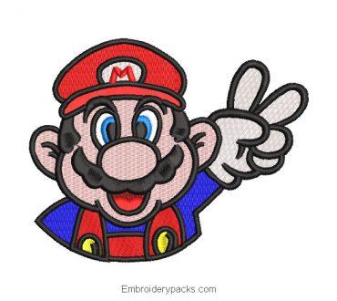 Mario Bros face embroidery design