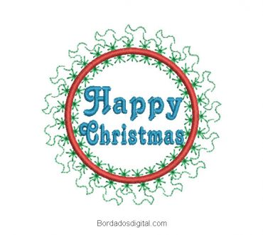 Merry Christmas embroidery with decoration
