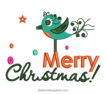 Merry christmas letter embroidery design with decoration