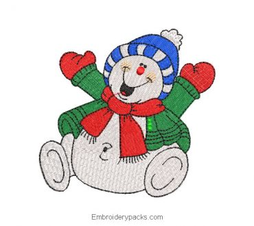 Merry snowman christmas embroidery design