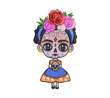 Mexican Doll Frida Kahlo Animated Embroidery Designs