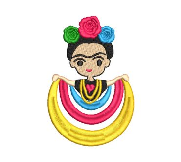 Mexican Frida Kahlo Doll with Roses Embroidery Designs