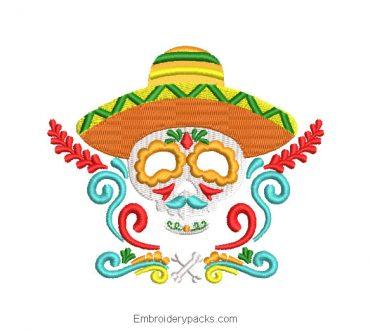 Mexican embroidery catrina skull design