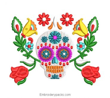 Mexican skull catrina embroidery design