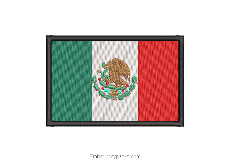 Mexico flag for machine embroidery