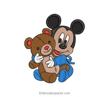 Mickey Mouse with Bear Embroidery Design