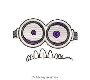 Minions glasses embroidery design