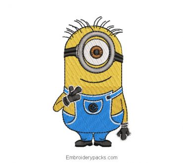 Minions with glasses embroidered design