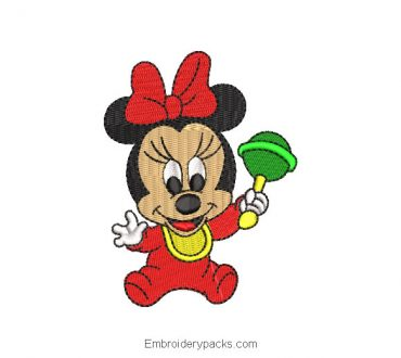 Minnie mouse baby with toy embroidery
