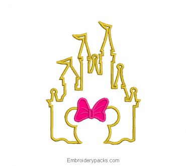 Minnie mouse castle embroidery design with application