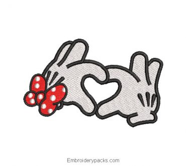Minnie mouse hand embroidered design