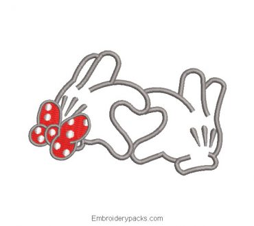 Minnie mouse hand outlined embroidery