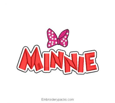 Minnie mouse letter embroidery design