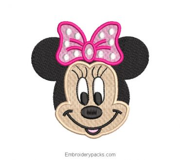 Minnie mouse smiling embroidery design