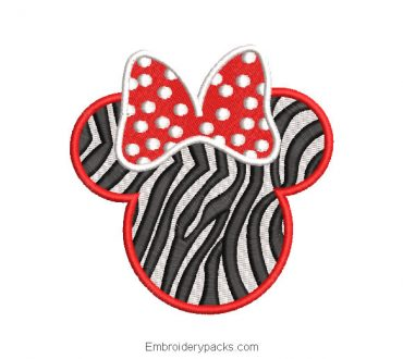 Minnie mouse zebra face embroidery design