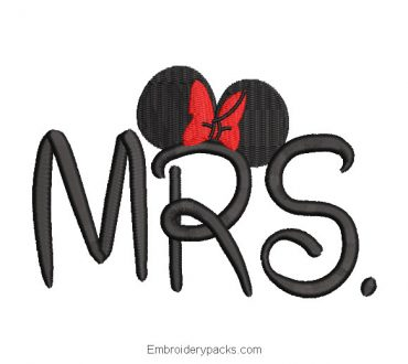 Mrs Mickey Mouse Embroidery Design