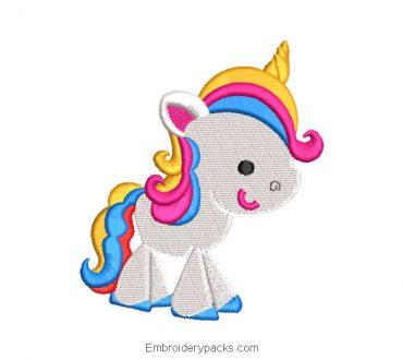 Multicolor unicorn pony embroidery design