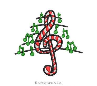 Musical note sign embroidery design