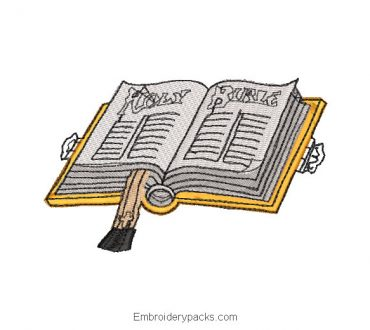 Open bible book embroidery design