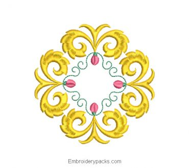 Ornamental Crown Embroidery Design