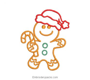 Outlined Christmas Cookie Embroidered Design