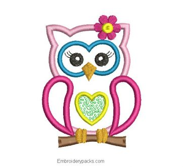 Owl Embroidery Design with Application