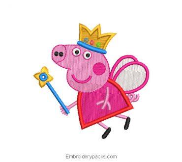 Peppa pig princess embroidery design