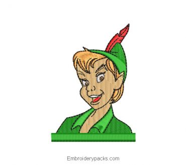 Peter pan face embroidery design