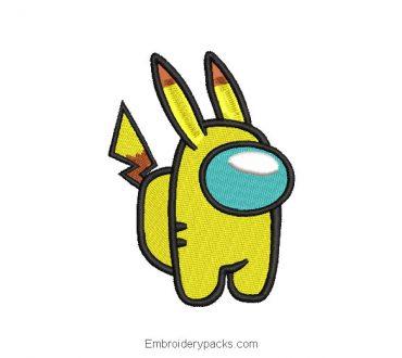 Pikachu among us embroidered design